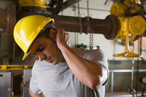 Worker with neck injury